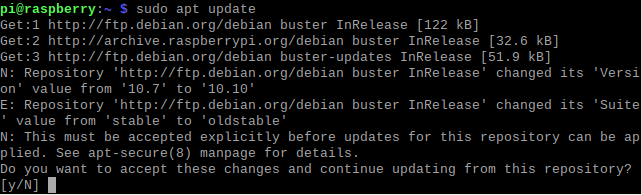 sudo apt update raspberry pi